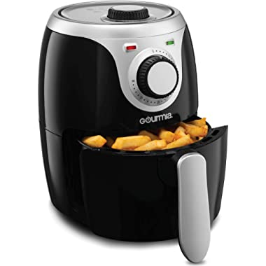 Gourmia GAF218 Air Fryer | Oil-Free Healthy Cooking | 2.2-Quart Capacity | Adjustable Time and Temperature Dials | Removable, Dishwasher-Safe Tray | Free Recipe Book Included