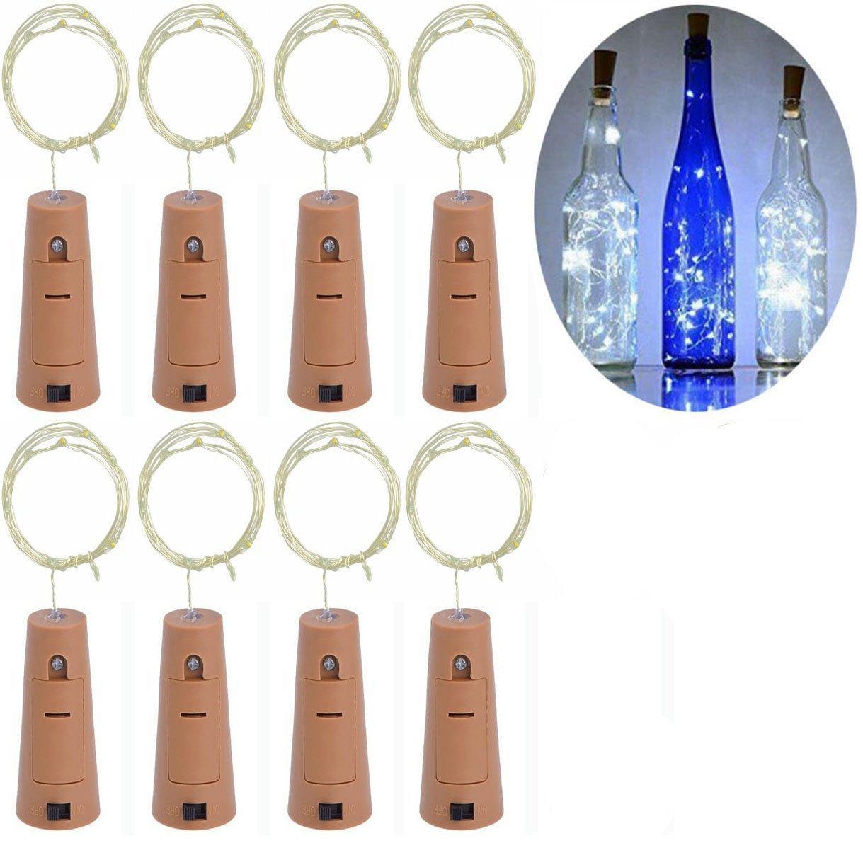 Wine Bottle String Lights, LED Cork Lights, Wine Bottle Decorations, LED Light Strip, 2 Meter / 7.2 Feet Copper Wire 20 LED Lights Battery Powered (8 packs)