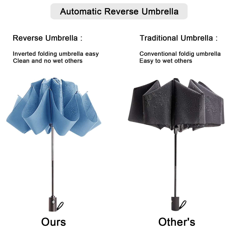 DORRISO Automatique Pliant Parapluie Anti-UV Double Couche Coupe-Vent Parapluie Voyage Ombrelle /étanche Homme Femme Poign/ée Antid/érapante Parapluie de Voyage