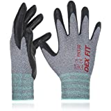 DEX FIT Nitrile Work Gloves FN330, 3D Comfort Stretch Fit, Power Grip, Smart Touch, Durable Foam Coated, Thin & Lightweight,