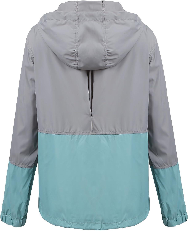 Modfine Damen Jacke Sommer Windbreaker /Übergangsjacke Wasserabweisend Regenmantel Regenjacke mit Kapuze in 14 Farben
