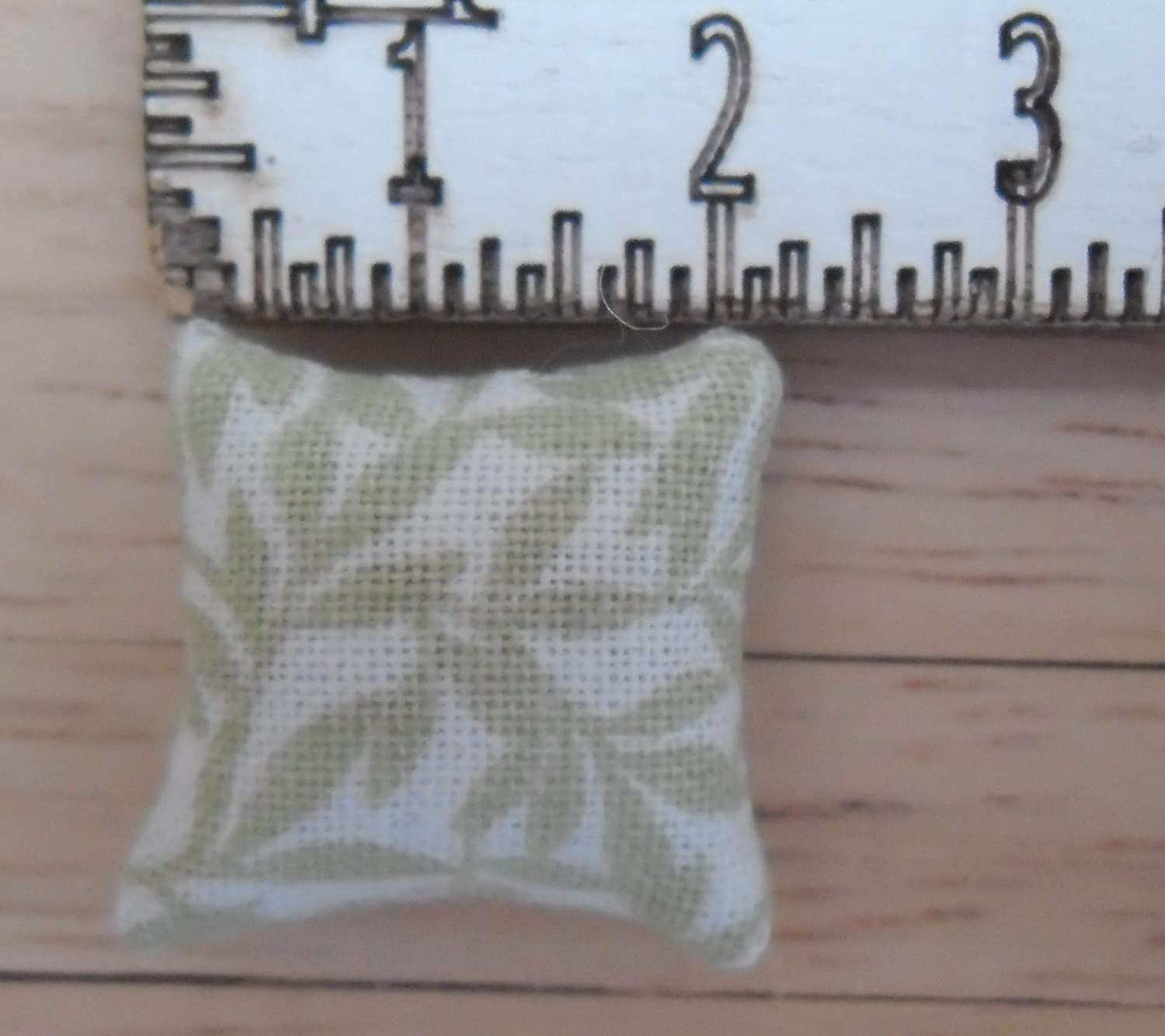 Leaves Pattern in Shades of Green 1//24th Scale Dolls House Printed Fabric Cushions