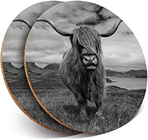 Great Coasters (Set of 2) Round with - Scottish Highland Cows Scotland Cow Drink Glossy Coasters/Tabletop Protection for Any Table Type #15728