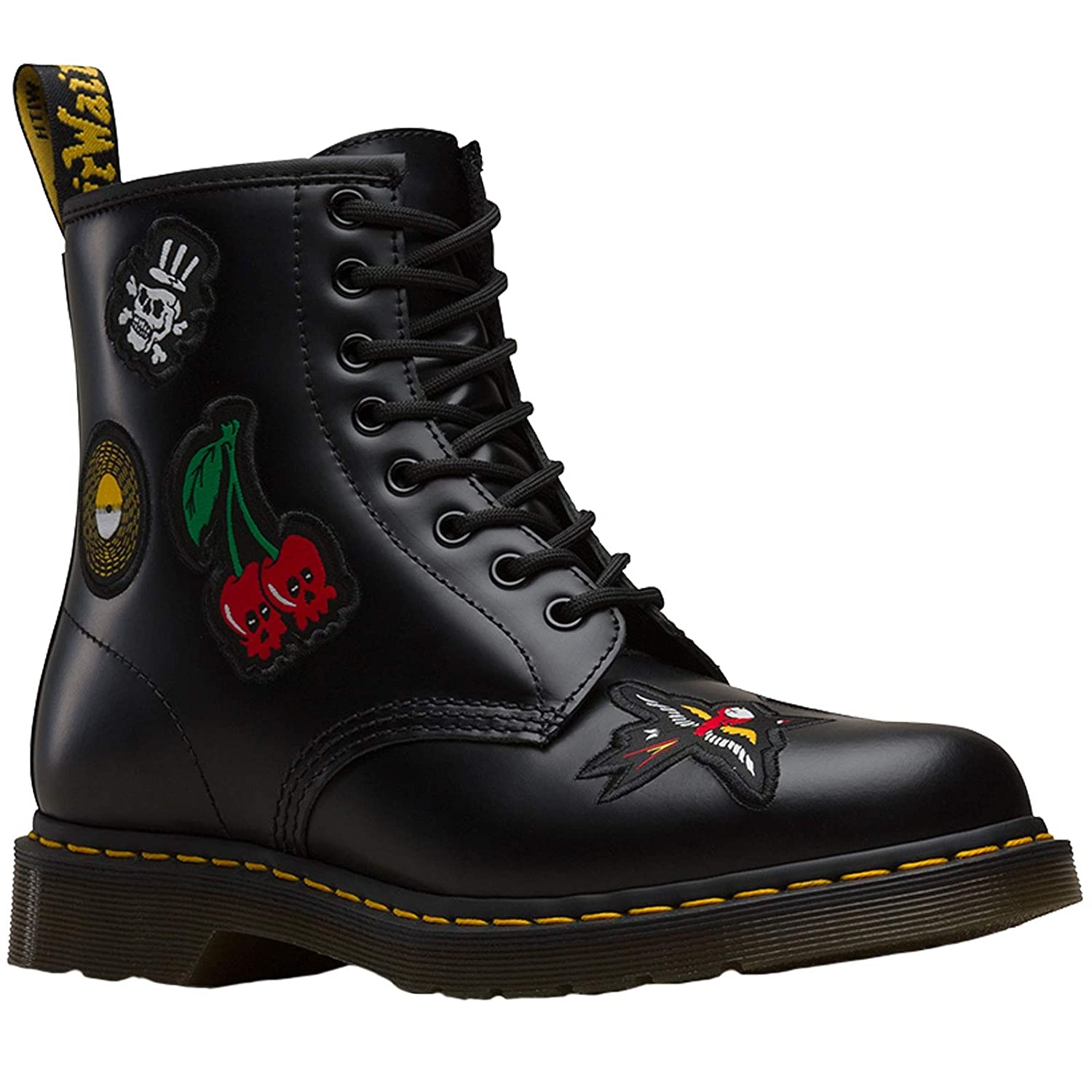 Dr. Martens Unisex 1460 Patch Black Rock & Roll Black Leather 8 Eyelet Boots -UK 10 (EU 45)
