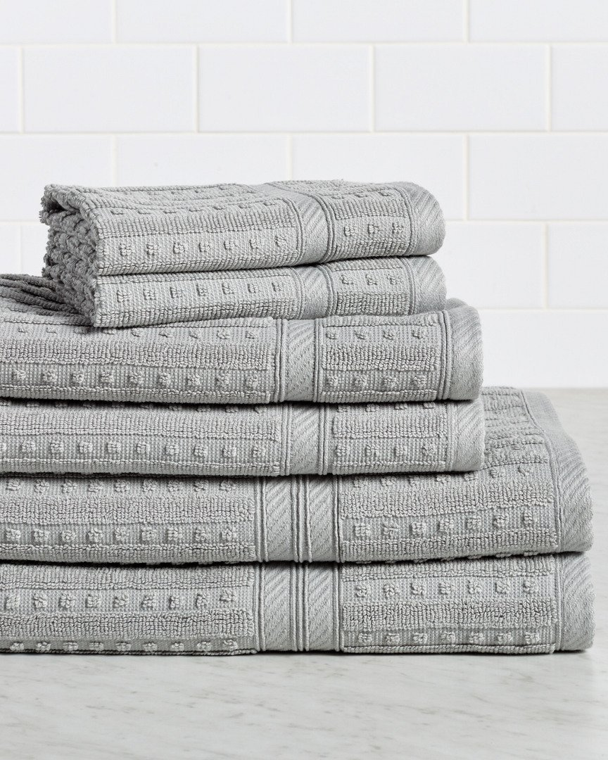 HomeCrate Naples 100% Cotton 6 Piece Towel Set - Silver - Hotel Quality, Super Soft Highly Absorbent