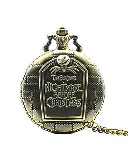 Fashion Nightmare Before Christmas Locket Necklace Pocket Watch Round Shape