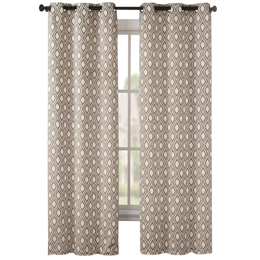 """Collections Mystique Modern Lattice Pattern Grommet Top Curtain Panel Pair, Taupe, 74"""" X 63"""""""