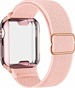 ADWLOF Stretchy Solo Loop with Screen Protector Case Compatible with Apple Watch Bands 38mm,Adjustable Braided Sport Nylon Elastics Men Women Compatible with iWatch Series 6/5/4/3/2/1,SE,Rose Pink