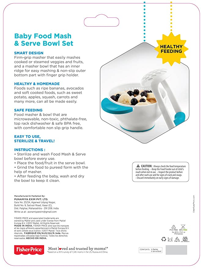 Fisher-Price Baby Food Mash and Serve Bowl Set, Blue