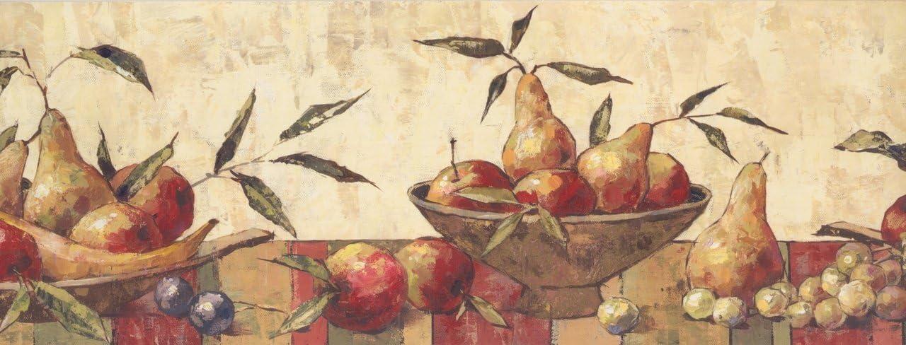 Faux Paint Pear Apple Plum Grapes Cream BE10121B Wallpaper Border