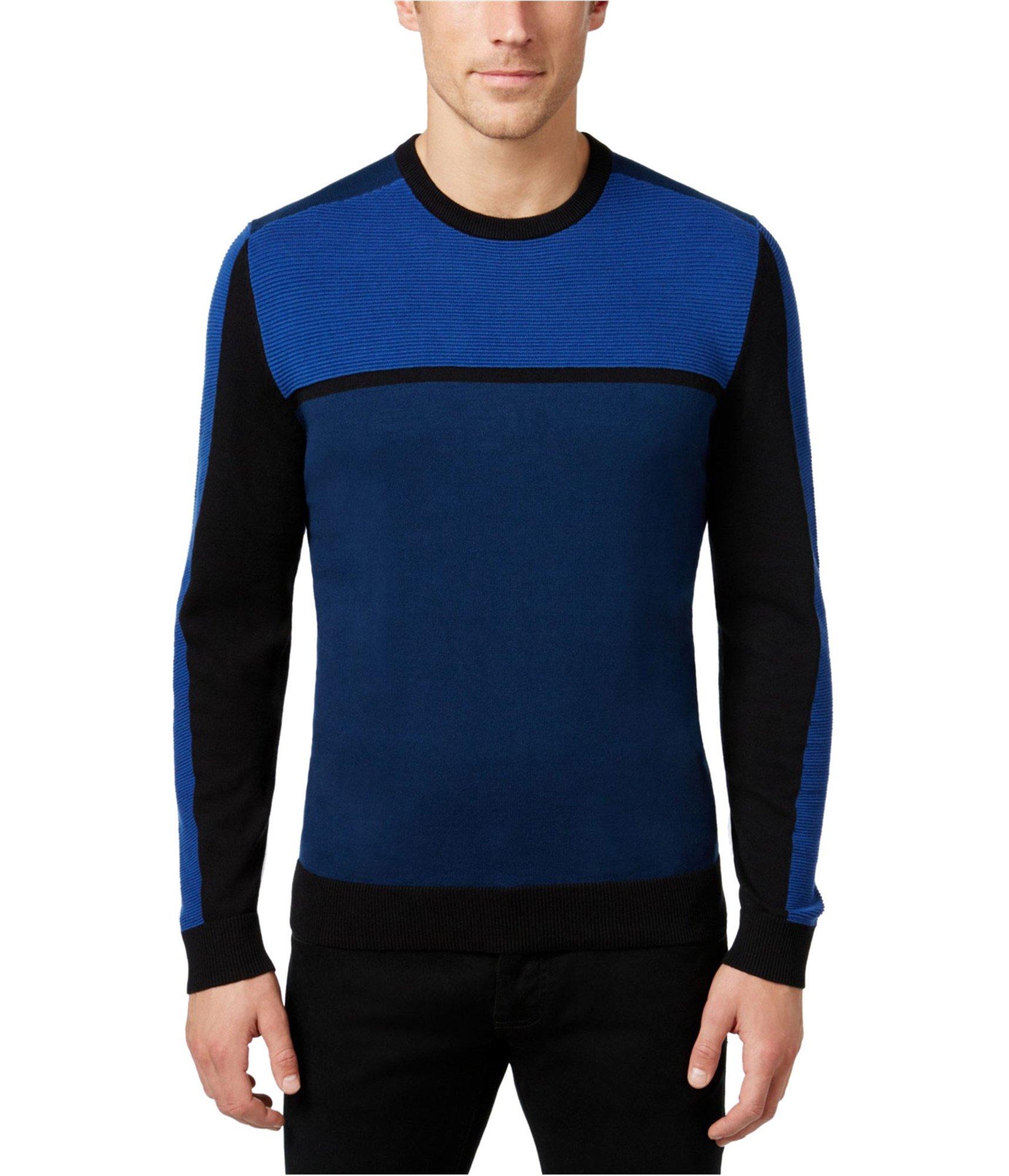 Alfani Navy Mens Medium Crewneck Ribbed Knit Sweater Blue M