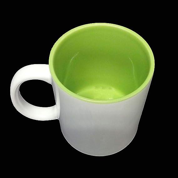 Taza de café blanco – Sublimación Interior Verde: Amazon.es: Hogar
