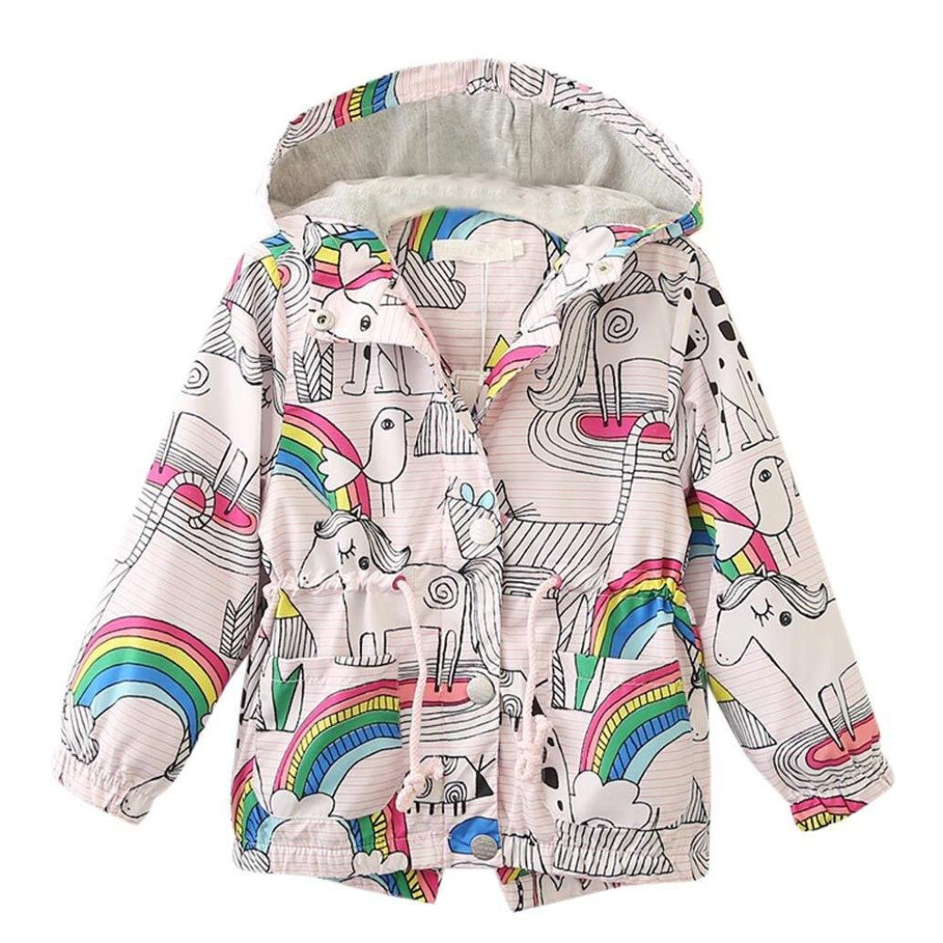 Kehen Kids Girls Rainbow Pattern Long Sleeve Hoodie Coat Jacket Windbreakers Outerwear (Multicolor, 6T)