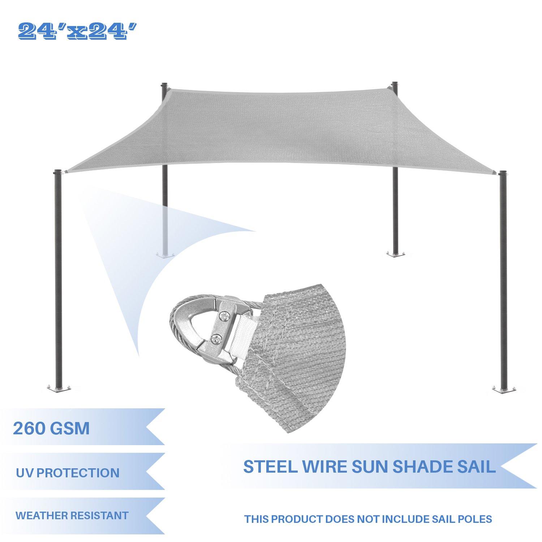 E&K Sunrise Reinforcement Large Sun Shade Sail 24' x 24' Rectangle Heavy Duty Strengthen Durable Outdoor Garden Canopy UV Block Fabric (260GSM)- 7 Year Warranty - Light Gray