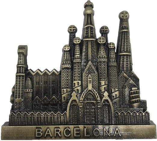 Weekinglo Souvenir Barcelona España Imán de Nevera 3D Metal Artesanía Hecha A Mano Turista Viaje Ciudad Recuerdo Colección Carta Refrigerador Etiqueta: Amazon.es: Hogar