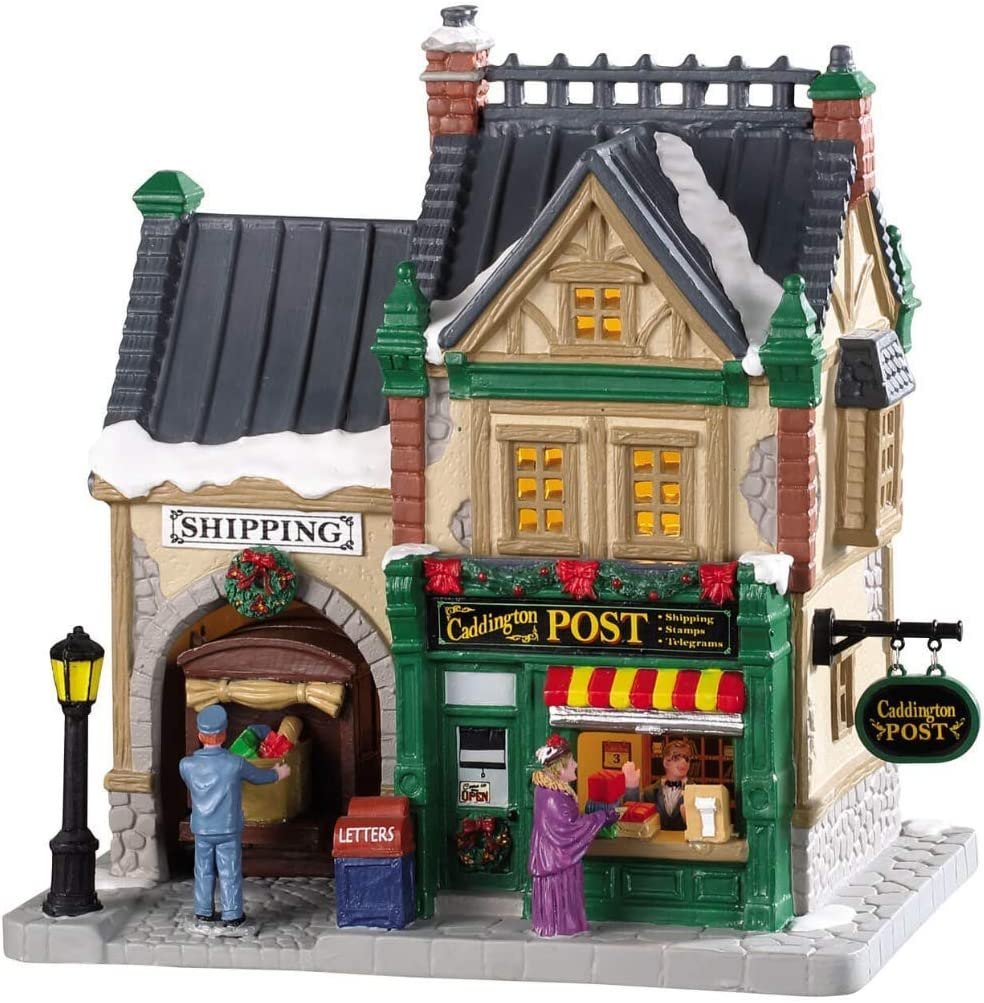 LEMAX Christmas Village Collection - Caddington Post - Porcelain Christmas Village Post Office