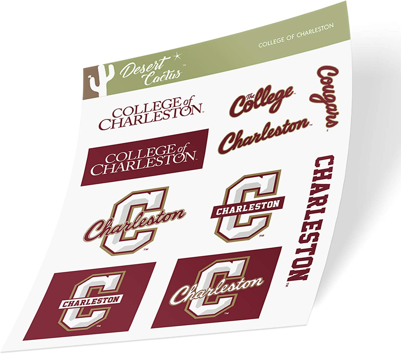 College of Charleston C of C Cougars NCAA Sticker Vinyl Decal Laptop Water Bottle Car Scrapbook (Type 2 Sheet)