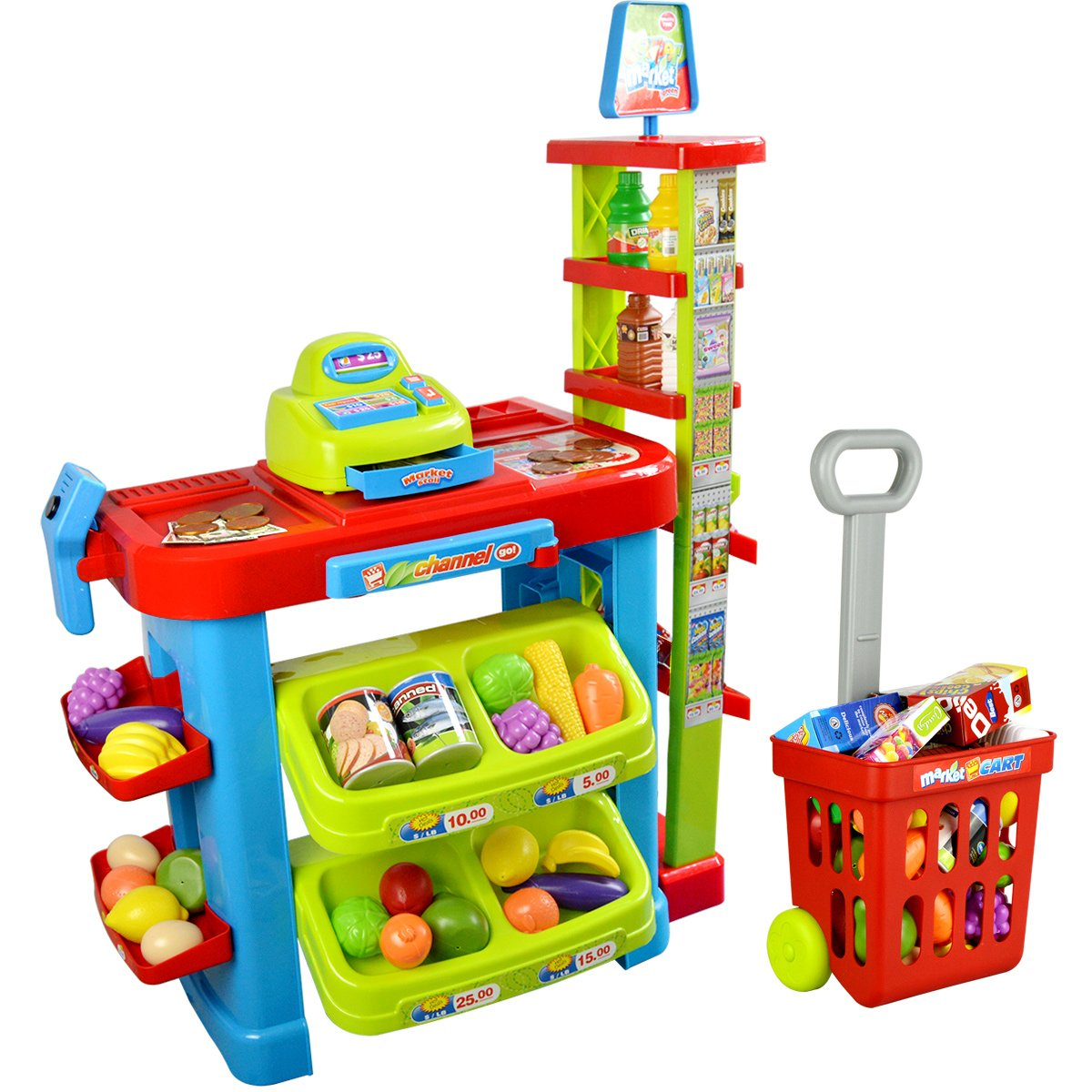 PowerTRC® Fun Super Market Pretend Play Toy Market Play Set with Toy Cash Register, Working Scanner, Shopping Cart, Pretend Food and Money by PowerTRC (Image #1)