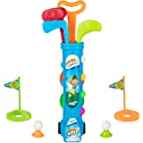 Kids Golf Clubs Set, Golf Toy with 1 Golf Cart, 3 Golf Clubs, 2 Practice Holes, 2 Golf Tees & 6 Balls, Early Educational, Out