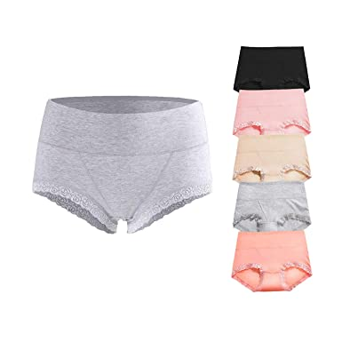 65f56dc2037b AIGIRLS Women's Cotton Underwear Panties,Girls Soft Mid Waist Underwear  Women, Breathable Hipster Briefs