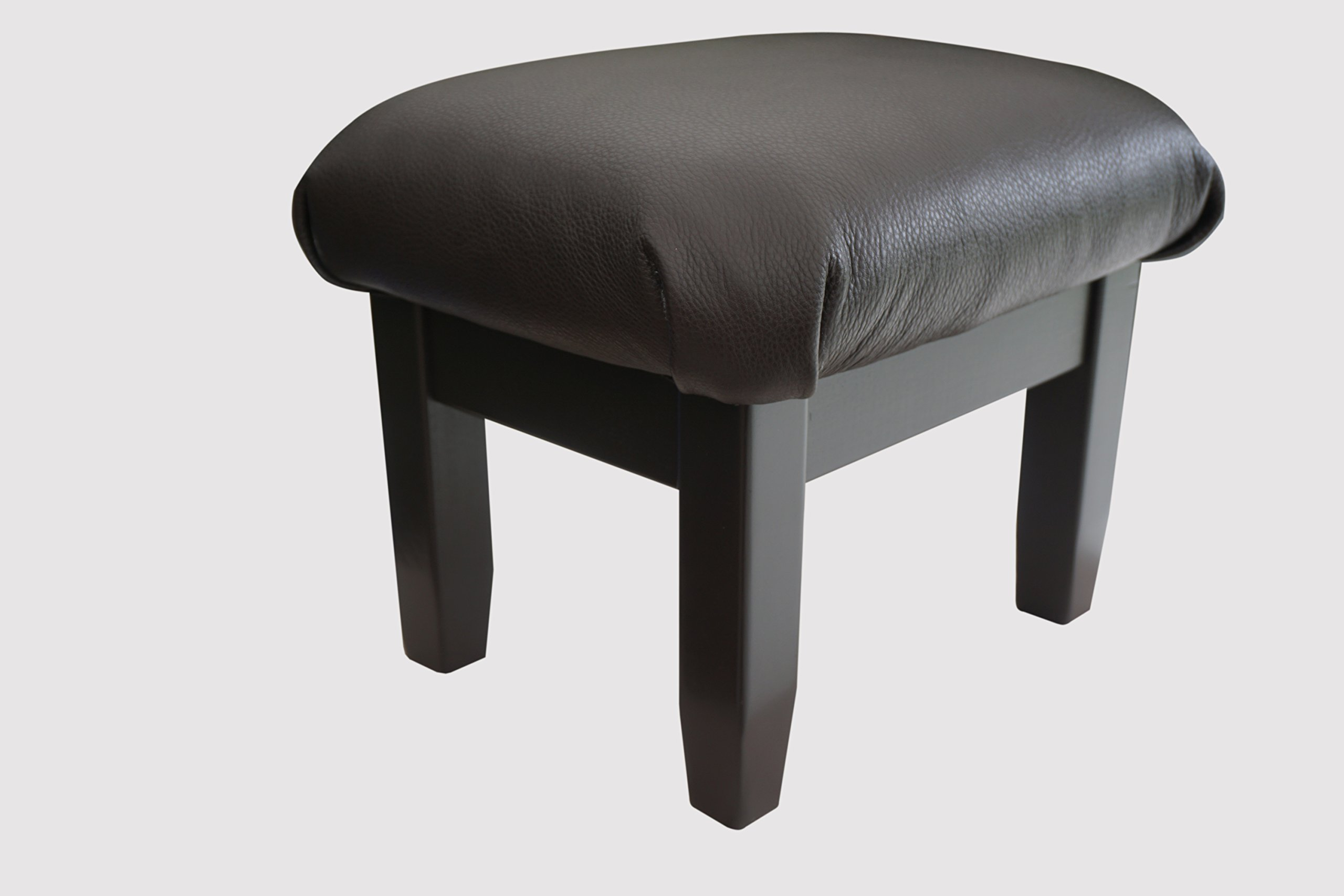 Padded Foot Stool: Dark Chocolate Truffle Leather, 12'' Tall, Espresso Frame (Made in the USA)