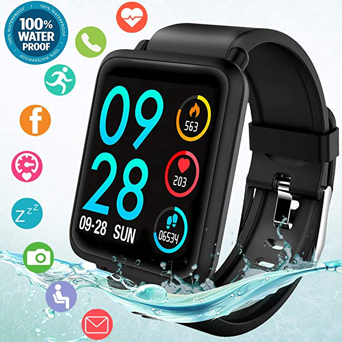 Fitness Tracker Smart Watch, Waterproof Fitness Watches with Blood Pressure Heart Rate Calorie Monitor,Sport Bluetooth Smartwatch Activity Tracker ...
