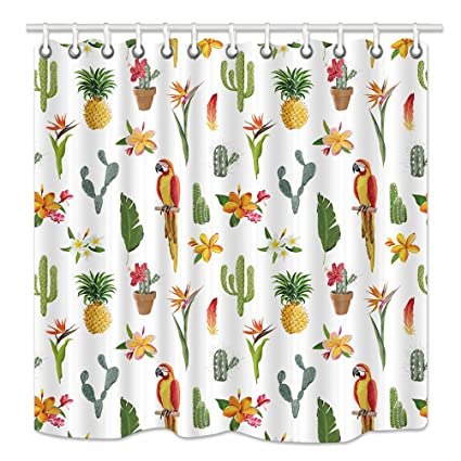 HNMQ Tropical Bird Shower Curtain Exotic Cactus Plant Flowers Pineapple Palm Leaves And Parrot