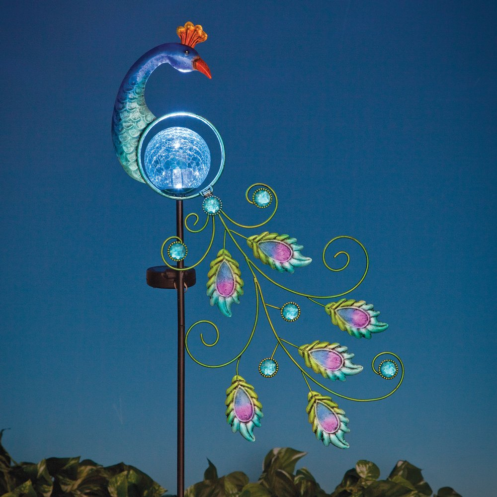 Bits and Pieces - Magnificent Solar Powered 38'' Peacock Garden Stake - Beautiful Garden Décor - Elegant Metal and Glass Solar Stake Creates Stunning Glow Throughout Evening