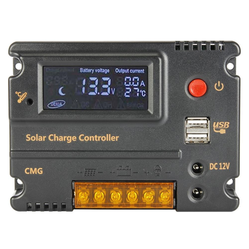 Anancooler Solar Charge Controller 30 amp 12V 24V with Dual 5V USB Output Backlight LCD Display Solar Panel Charger Regulator Multi Circuit Protection Off Grid System