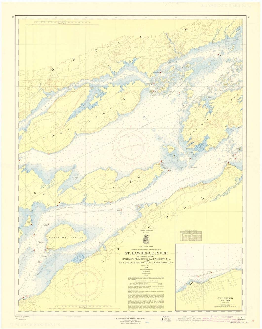 Professionally Reprinted 18 x 24 Image of 1958 Nautical Chart ST. LAWRENCE RIVER, ST. LAWRENCE SEAWAY, BARTLETT PT. LIGHT TO CAPE VINCENT, N.Y. AND ST. LAWRENCE ISLAND TO COLD BATH SHOAL, ONT. by Lak