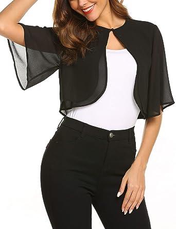 33706aa2a3f37 Teewanna Women's Classic Short Sleeve Open Front Cropped Bolero Cardigan,  Black, ...