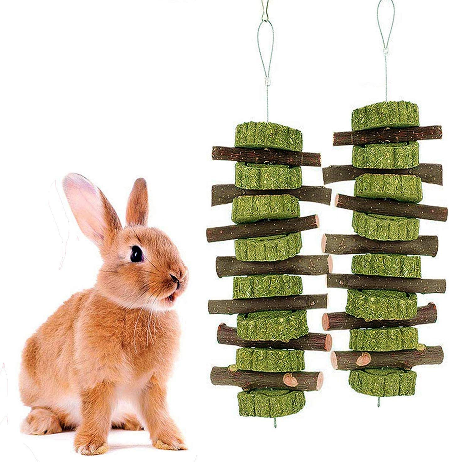 PINVNBY Bunny Chew Toys Apple Wood Sticks Natural Edible Grass Cake Pet Snacks Treats Molar Teeth Grinding Toy for Small Animals Rabbits Chinchilla Guinea Pigs Hamsters 2 PCS
