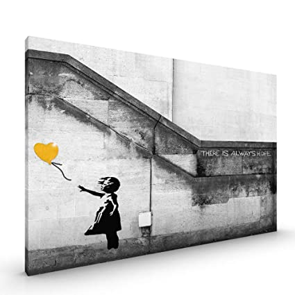 Banksy Wall Art Grey White Yellow Girl Balloon Canvas Abstract Split Picture