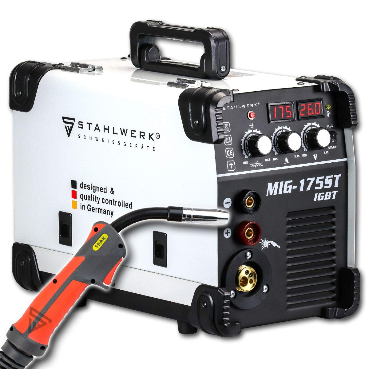 STAHLWERK MIG 175 ST IGBT Equipo de soldadura de gas de protección MIG MAG con 175 A, hilo tubular FLUX adecuado, con MMA E-Hand, 7 años de garantía