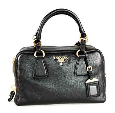 Prada Women's B3091M UWL F0002 Black Leather Shoulder Bag