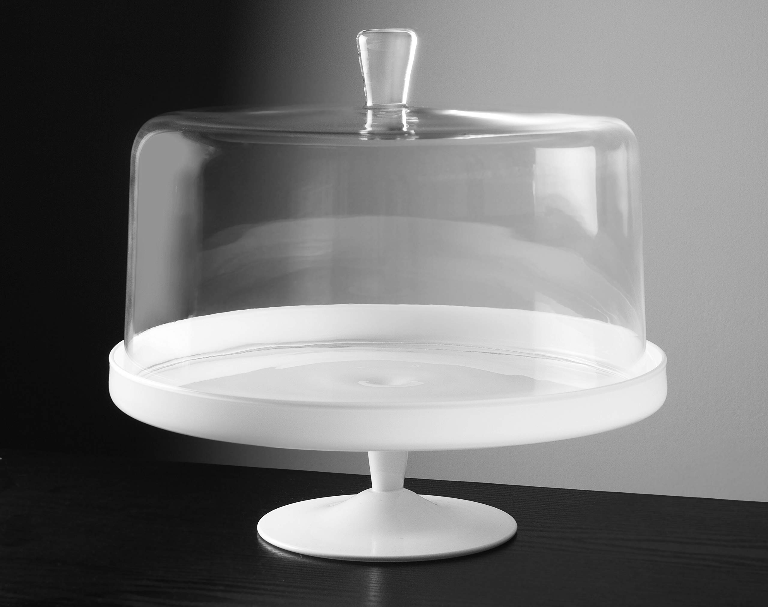 Barski - Euorpean Quality Glass - Large 2 Pc Set - Footed Glass - Opal (white) Cake Stand with Large Clear Cake Dome - 12.4'' Diameter - Made in Europe
