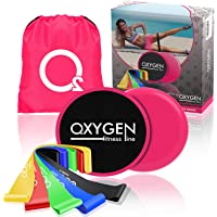 "OxygenFitnessLine Set of 5 Resistance Bands and 2 Exercise Core Sliders - Premium Set Natural Latex 12"" Mini Loops and 8"" Large Dual Sided Gliding Discs and Carry Bag"