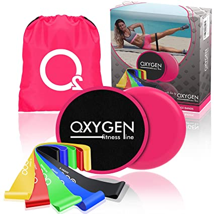 a1ea63effe38 Oxygen Fitness Set of 5 Resistance Bands and 2 Exercise Core Sliders -  Premium Set-
