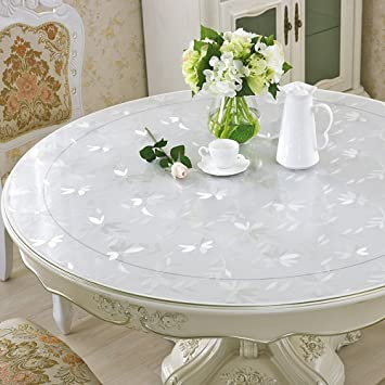 Eco PVC Round Table Protector Circle Marble Wooden Furniture Protector Clear  Plastic Round Tablecloth Desk Pad