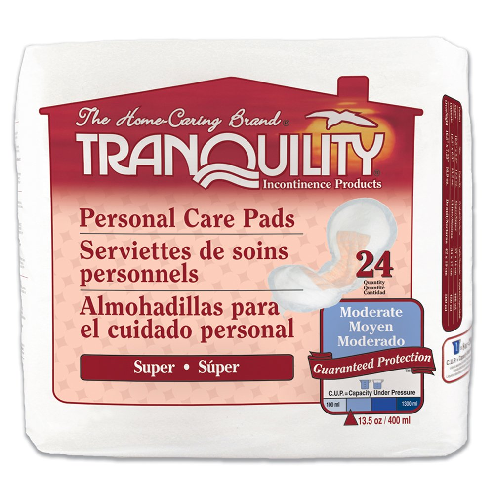 Tranquility Incontinence Personal Care Pads for Men or Women - Super - 24 ct