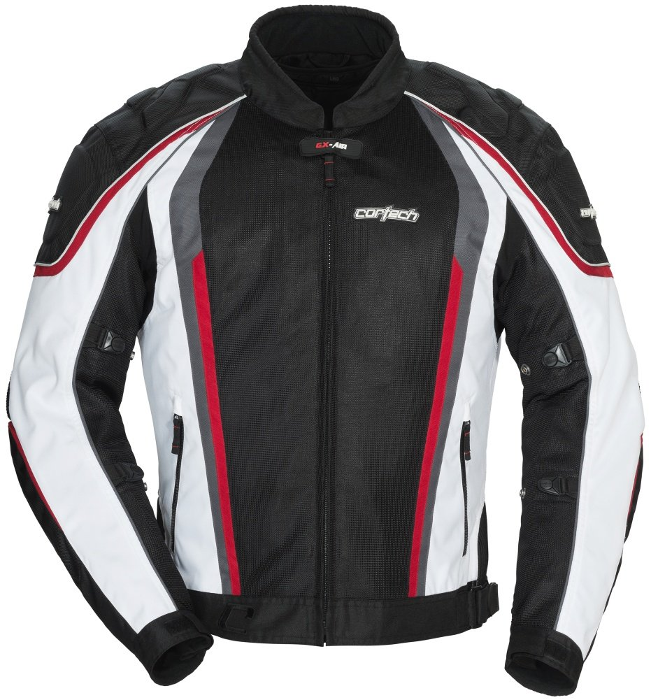 Cortech GX Sport Air 4.0 Adult Mesh Road Race Motorcycle Jacket - White/Black / Large