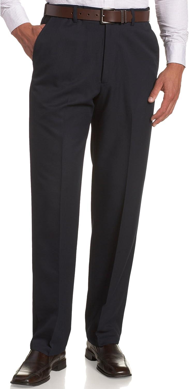 Haggar Men's Cool 18 Hidden Expandable-Waist Plain-Front Pant , Classic Fit