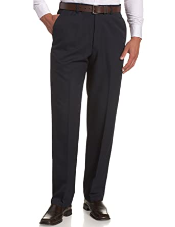 ec37d81a Haggar Men's Cool 18 Hidden Comfort Waist Plain Front Pant,Navy,30x30