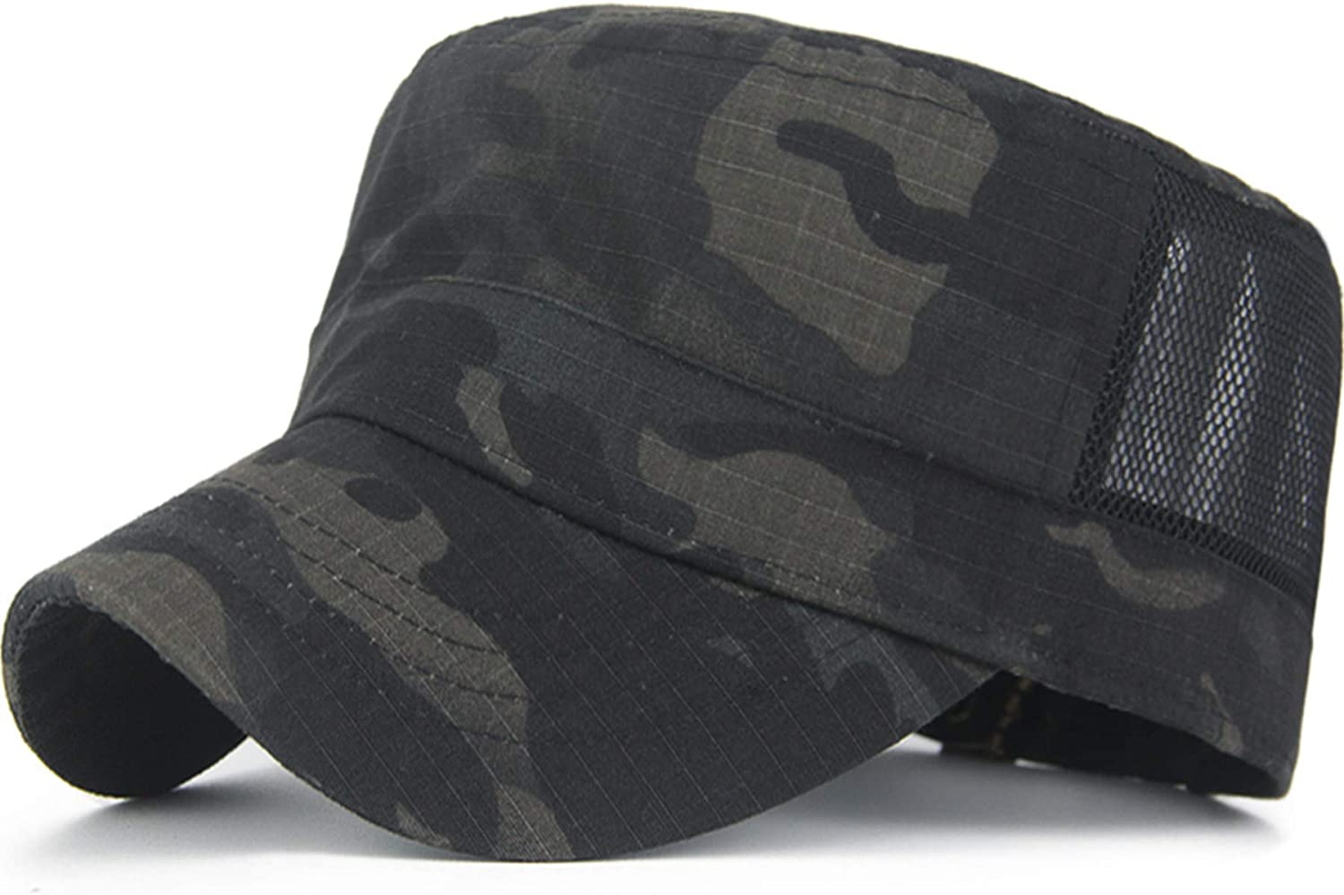 KEFITEVD Outdoor Military Camouflage Meshed Cap Mens Breathable Baseball Camping Hat US Flag Cap