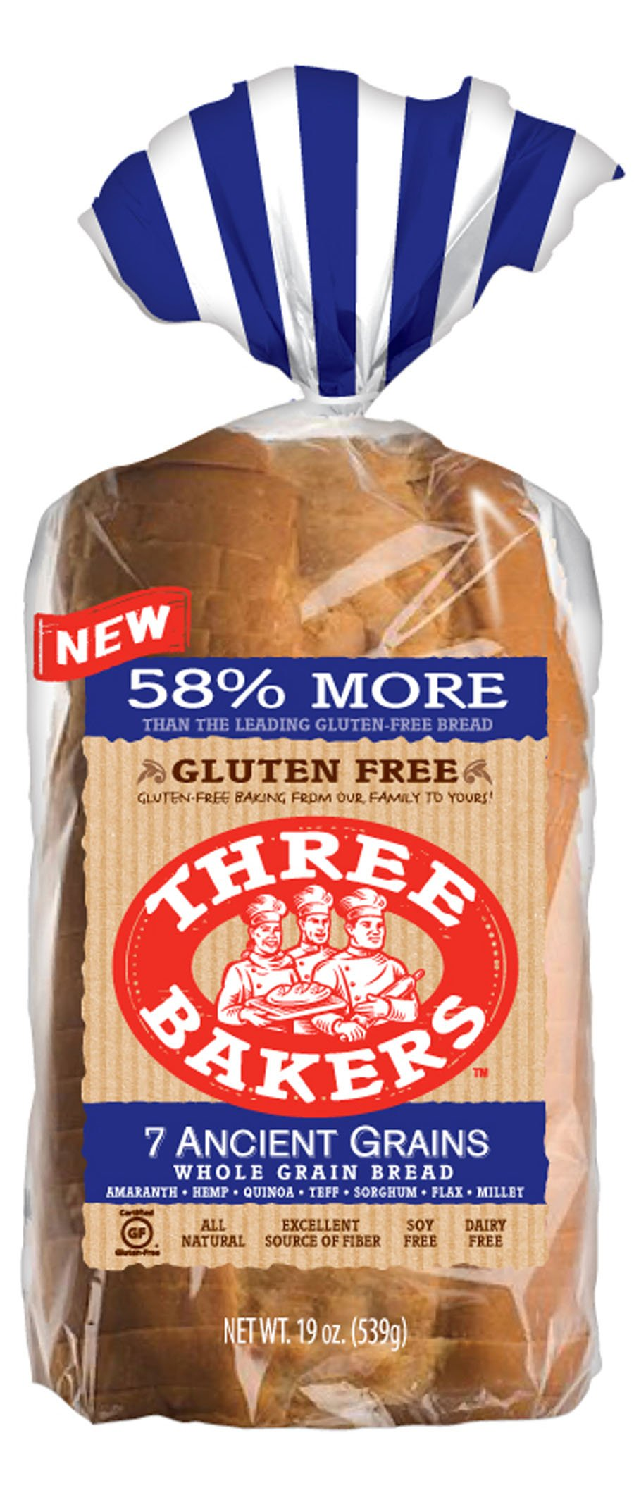Three Bakers Gluten Free 7 Ancient Grain Bread (Pack of 3) by Three Bakers