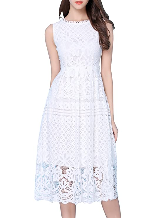 VEIISAR Women Round Neck Little Vogue Mid Sleeveless Petite Pleated Lace Slim Dress White XS