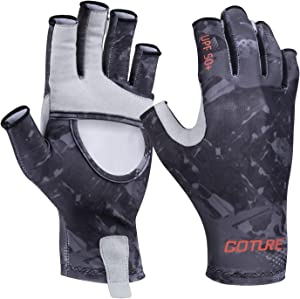 Goture UV Fishing Gloves Men,Sun Protection Fingerless Gloves UPF 50+ Breathable Cooling Gloves for Fishing for Hiking Kayaking Padding Canoeing Rowing(Gray Blue Black S/M L/XL)
