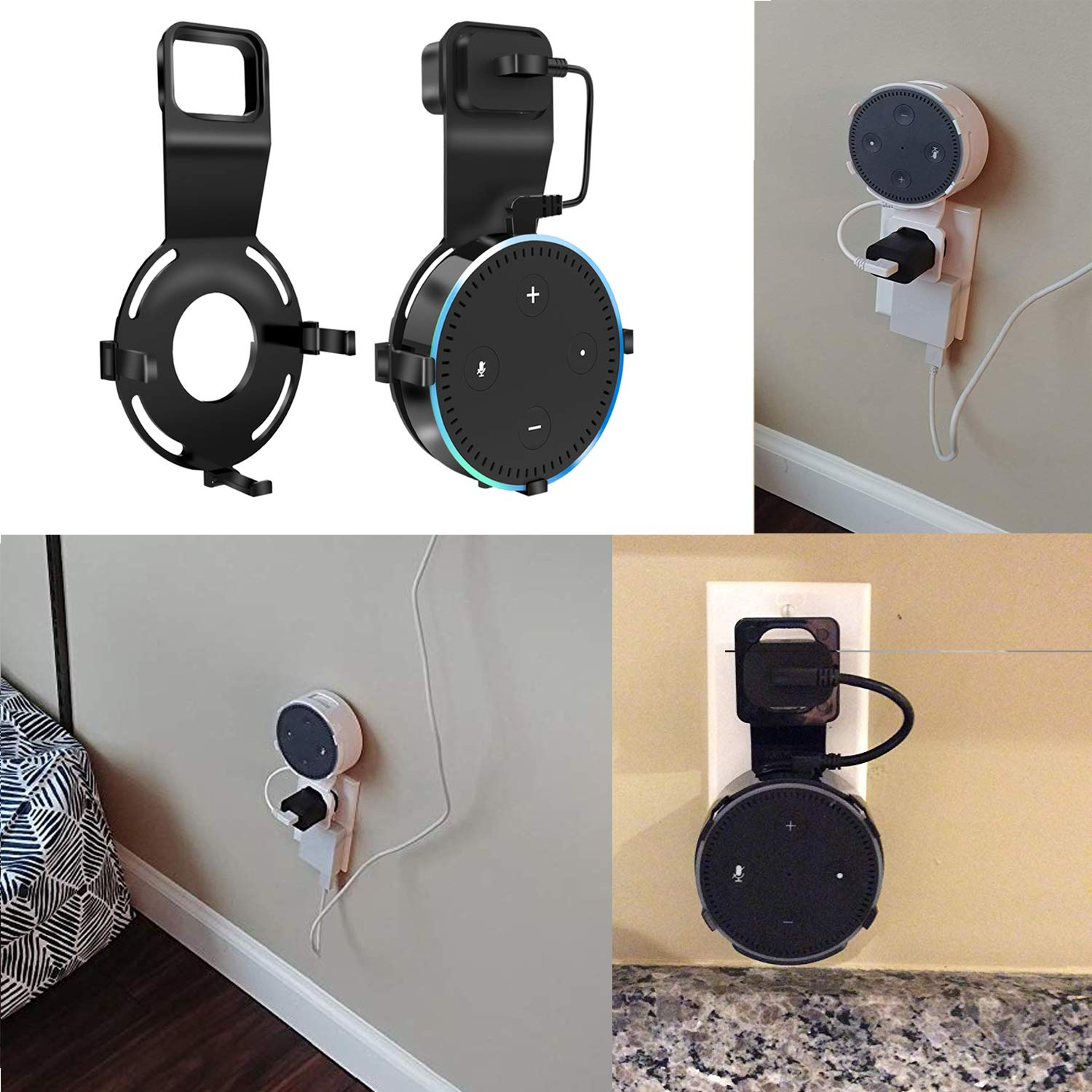 Echo Dot Wall Mount, Ofspower Smart Home Alexa Accessories Outlet Wall Mount Echogear Stand for Amazon Echo 2nd Generation Speaker Holder with Charging Cable, Folable and Compact Kitchen Accessory