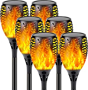 【Upgraded 6-Pack Super Larger Size Solar Flame Torch】Ultra-Bright Solar Lights Outdoor Decorative with Flickering Flame, Waterproof Outdoor Lights for Party Backyard Garden Pathway