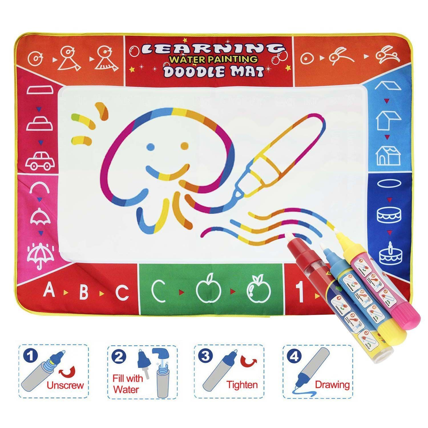 Drawing Pad Water Doodle Drawing Board Portable Educational Game for Girls Boys Reusable Ultra-Clean Washable Activity Gift Paint Magic Pen Mieeter